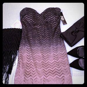 "Strapless ""Chevron"" Ombre Glitter Dress"